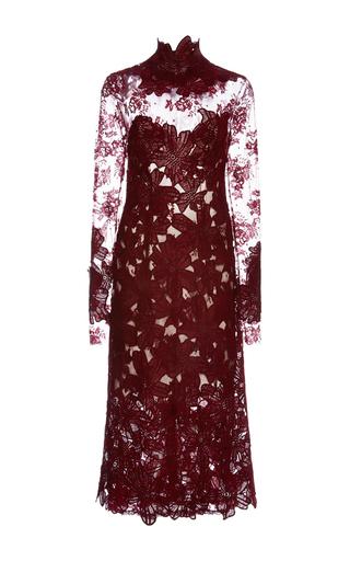 Medium costarellos burgundy long sleeve guipure and chantilly lace midi dress