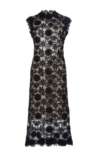 Medium costarellos black 3d guipure flower lace midi dress