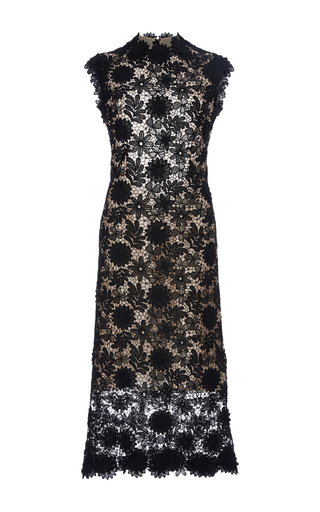 Medium costarellos black 3d guipure flower lace midi dress
