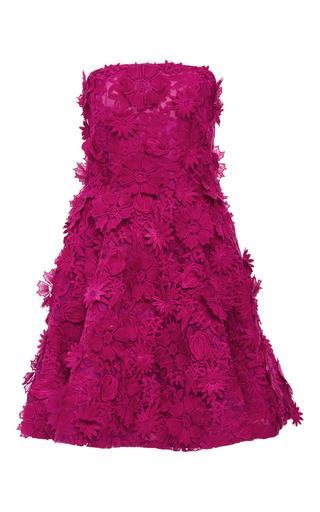 Medium costarellos fuchsia strapless guipure lace short dress