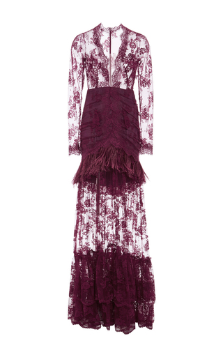 Medium costarellos burgundy marabou feathers and chantilly lace long dress