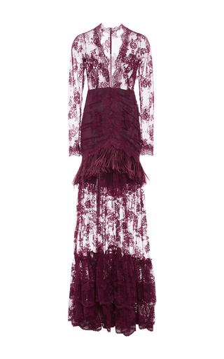 Medium costarellos burgundy marabou feathers and chantilly lace long dress