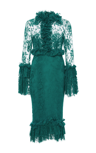 Medium costarellos green ruffled chantilly lace midi dress