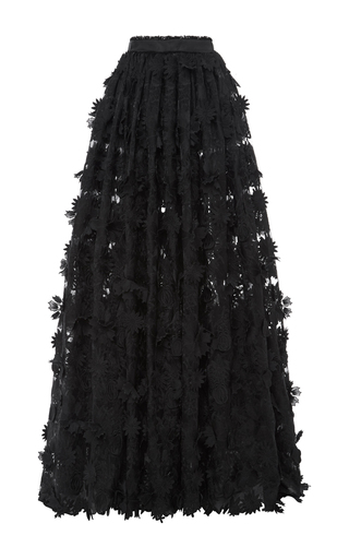 Medium costarellos black long guipure lace skirt