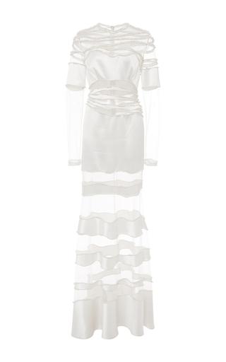 Medium costarellos ivory embroidered crepe satin silk long dress