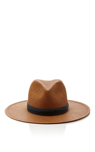 Medium janessa leone brown panton short brimmed panama hat