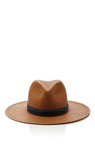 Medium janessa leone brown panton short brimmed panama hat