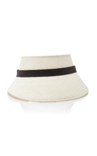 Medium janessa leone white clover straw visor