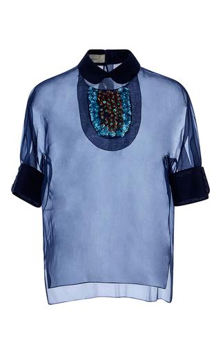 Medium delpozo navy embellished collar sheer blouse