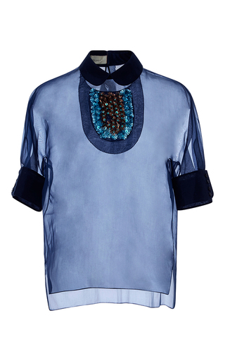 Medium delpozo navy embellished collar sheer blouse