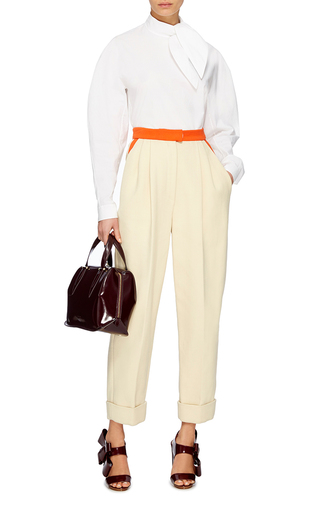 Tie Neck Cotton Shirt by DELPOZO Now Available on Moda Operandi
