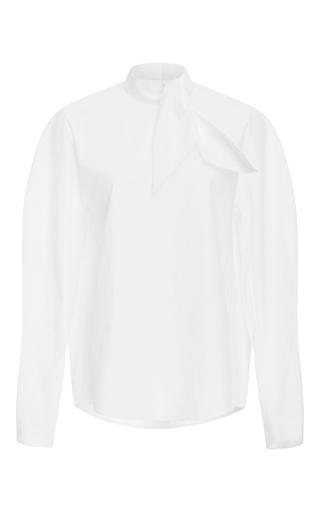 Medium delpozo white tie neck cotton shirt
