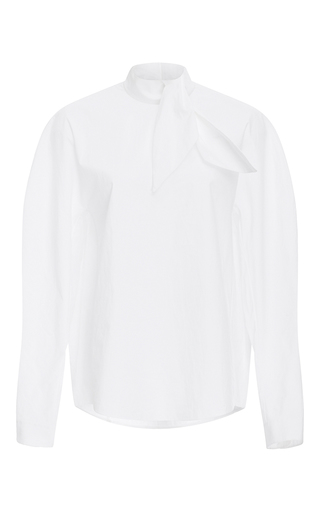 Medium delpozo white tie neck cotton shirt