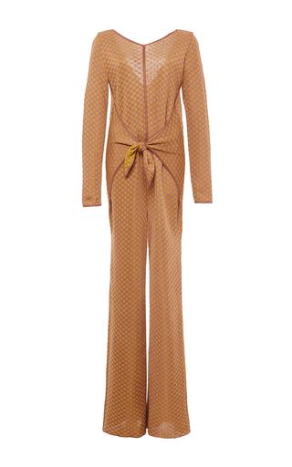 Medium pepa pombo tan tan wrap front jumpsuit