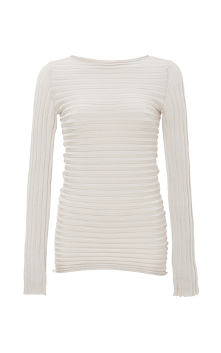 Medium pepa pombo ivory ivory ribbed knit long sleeve top