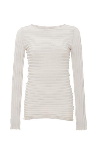 Medium pepa pombo ivory ivory ribbed knit long sleeve top