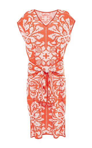 Medium pepa pombo orange cap sleeve wrap front dress