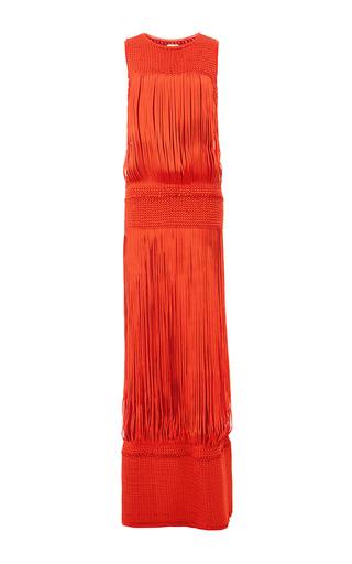 Medium pepa pombo orange fringed column dress