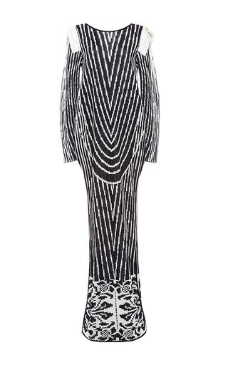 Medium pepa pombo black bateau neck knit long dress