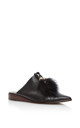 Medium tibi black sofie feathered flats