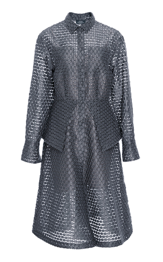 Medium alena akhmadullina light grey dot jacquard peplum shirt dress