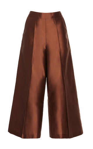 Medium alena akhmadullina brown silk taffeta wide leg trouser