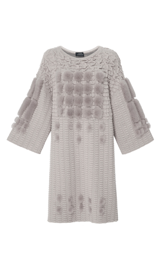 Medium alena akhmadullina light grey knit tunic with three dimensional mink details