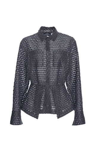 Medium alena akhmadullina dark grey dot jacquard peplum shirt