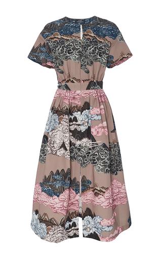 Medium alena akhmadullina tan short sleeve mountainscape tea dress