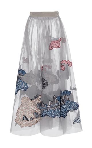 Medium alena akhmadullina light grey mountainscape embroidered tulle skirt