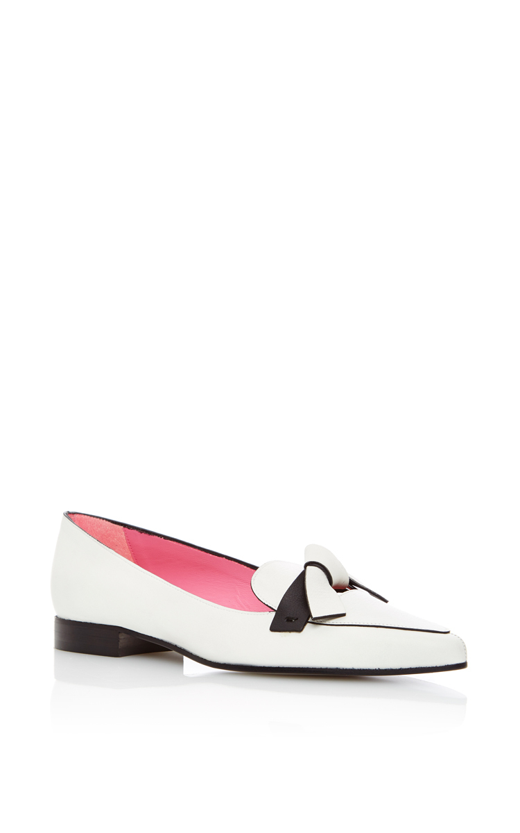 PAULE KA Blanc Bicolor Knotted Calfskin Loafer at Moda Operandi