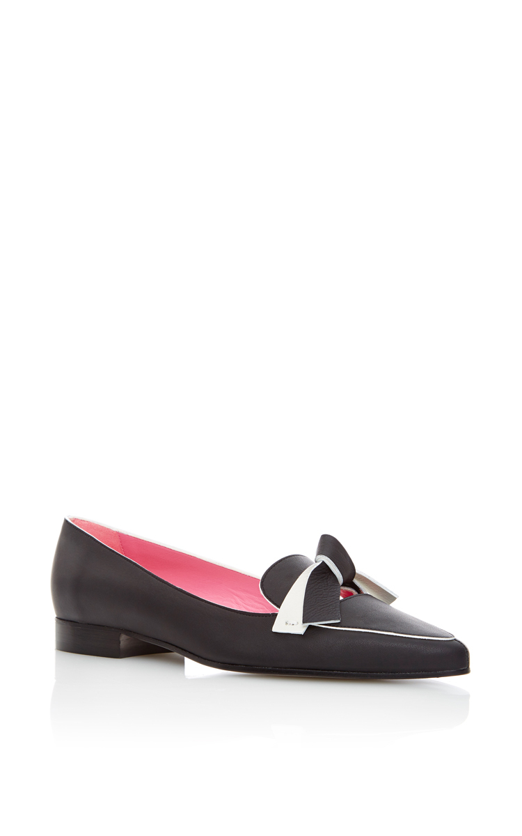 PAULE KA Noir Bicolor Knotted Calfskin Loafer at Moda Operandi