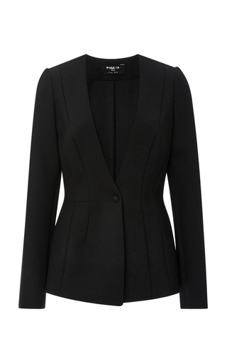 Medium paule ka black techno stretch collarless blazer