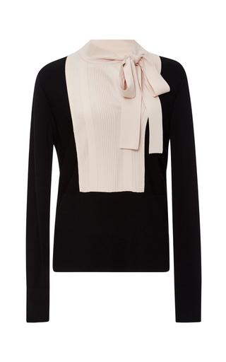 Medium paule ka black black bicolor bib tie neck blouse