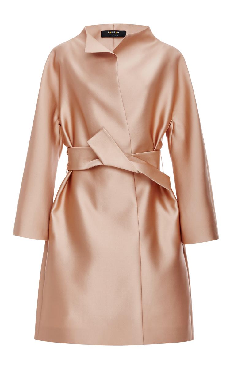 59c49339e4 Belted Duchess Satin Coat by Paule Ka | Moda Operandi