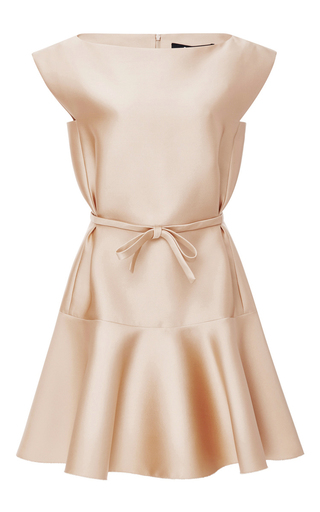 Medium paule ka nude duchesse satin flared dress