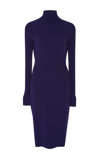 Medium paule ka purple knit turtleneck sweater dress