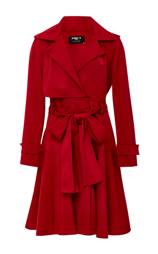 Medium paule ka red belted ottoman trench coat
