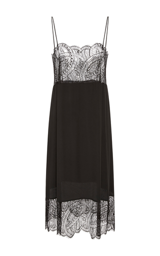 Medium paule ka black chantilly lace slip dress