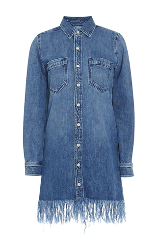 Medium 3x1 medium wash denim fringed shirt dress
