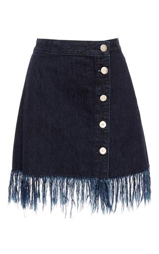 Medium 3x1 dark wash ws asymmetrical fringed skirt