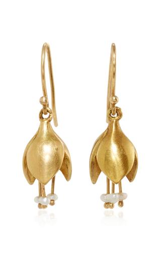 Medium annette ferdinandsen yellow allium bud earring with seed pearls