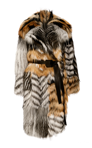 Medium jason wu light grey patched fox fur coat