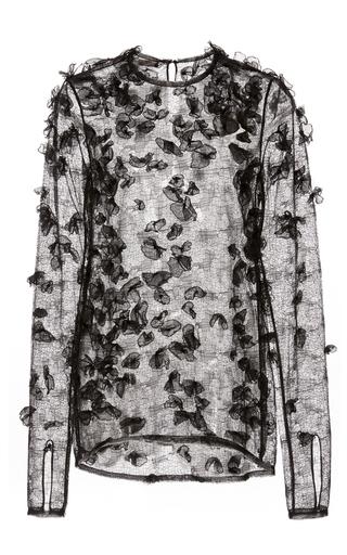 Medium jason wu black crew neck embroidered long sleeve top