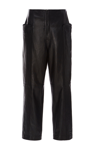 Medium tibi black black high waisted leather pant