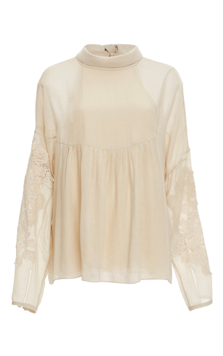 Medium tibi ivory anai embroidery blouse