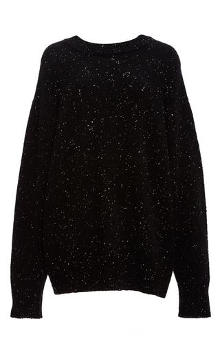 Medium tibi black tweed wool boyfriend sweater