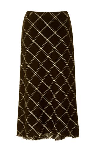 Medium tibi black salome plaid gauze bias skirt