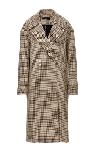 Medium tibi plaid houndstooth wool coat