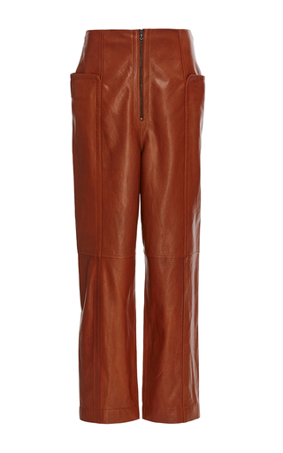 Medium tibi brown amber high waisted leather pant